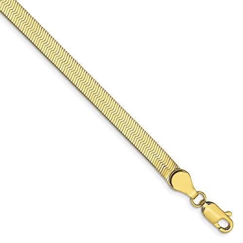 "Solid 10k Yellow Gold 4.0mm Silky Herringbone Chain Bracelet 7"""