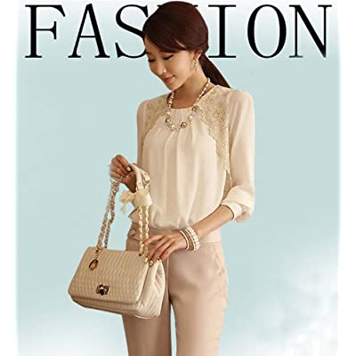 Aobiny Women Chiffon Blouse Lady Vintage Long Sleeve Sheer Tops Lace Shirt