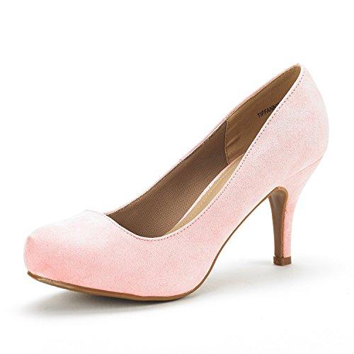 (DREAM PAIRS Tiffany Women's New Classic Elegant Versatile Low Stiletto Heel Dress Platform Pumps Shoes Pink Suede Size 8.5)