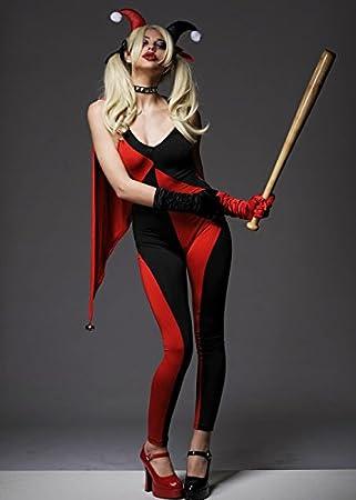 Para mujer Harley Quinn estilo jetser Catsuit Disfraz S (UK 8 – 10 ...