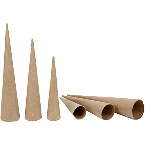 3 Assorted Paper Mache Cones to Decorate 20, 25 & 30cm Tall   Papier Mache Boxes Crafty Capers