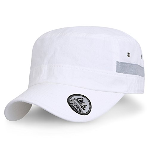 Back Cadet Cap - ililily Faux Suede Trim Military Cap Vintage Cotton Strap Back Army Cap, White