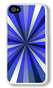 Blue Spiral Burst Custom iPhone 4S Case Back Cover, Snap-on Shell Case Polycarbonate PC Plastic Hard Case Transparent