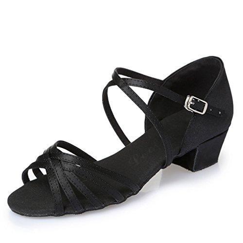 Noir 35 en Fond MOU Sandales d'enfants Danse Chaussures Cuir Latine Chaussures de BYLE en Danse Satin de de Chaussures Samba Danse Modern'Jazz cheville Sangle carré Latine adultes de Bq1wnwIpF