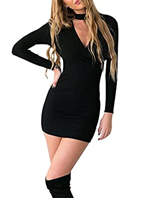 Simplee Apparel Women's Choker V Neck Ribbed Knit Bodycon Sweater Dress Club