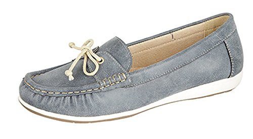 Ladies L468 Leather Lined Moccasin Summer Casual Denim Blue TRAYiJM