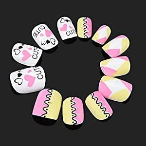 Iulove 12 Piezas de uñas postizas con patrón de Dibujos ...