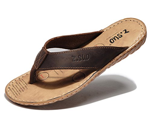 47776c592690c DQQ Men s Leather Stitch Flip Flop Thong Sandal well-wreapped ...
