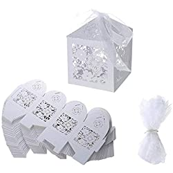 Candy Box small White Gift box Flower Laser Cut square paper Party Favor Box with Ribbon for Wedding,Bridal Shower,Birthday,Baby Shower,Anniversary,holiday celebration party supplies decoration,50pcs