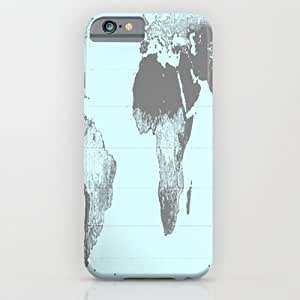 Society6 - Aqua Gray Gall Peters Map iPhone 6 Case by 2sweet4words Designs