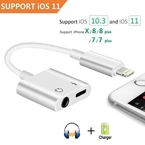 - Lightning to 3.5mm Headphone Audio adapter for iPhone X/8/7 Plus, 2 in 1 Lightning Adapter and Charger Support 10.3 or Latest iOS 11