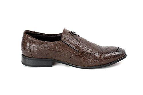 Hombres Inteligentes Vestido Zapatos De Vestir Sin Cordones Moda Office Diseñador Casual talla nuevo Café