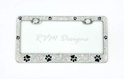 Bling Paw License Plate Frame made with Swarovski Crystals - Dog / Cat Car Jewelry -  RVMdesigns