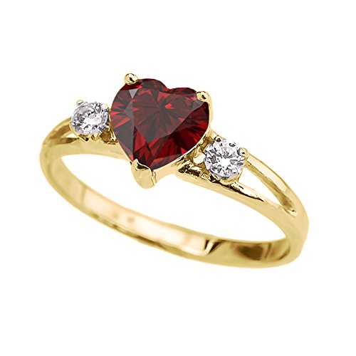 Gold Contemporary Heart - Precious 14k Yellow Gold Garnet Heart Proposal/Promise Ring with White Topaz (Size 5)