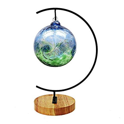 Ornament Display Stand with Wood, Flower Pot Stand Holder Iron Pothook Stand for Hanging Glass Globe Air Plant Terrarium, Witch Ball, Christmas Ornament and Home Wedding Decoration