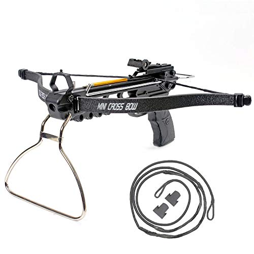 KingsArchery Crossbow Pistol with Bolt Rack Self-Cocking 80 LBS with Adjustable Sights and Spare Crossbow String and Caps
