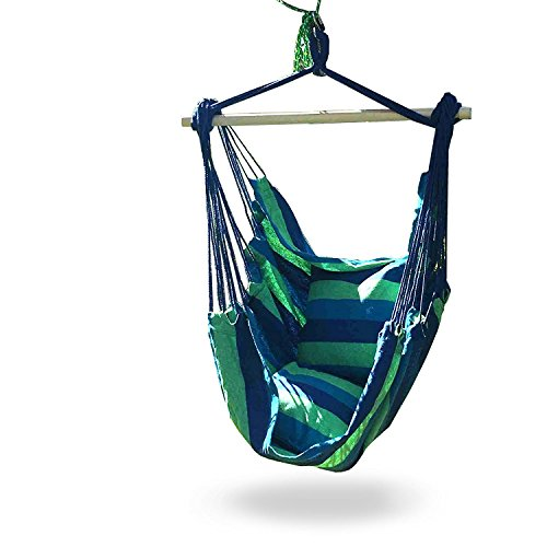 Cheap iCorer Hammock Chair Swing Seat for Indoor or Outdoor Spaces, S Hook & Rope Included, Blue & Green Stripes, 2 Seat Cushions, Max. 265 Lbs