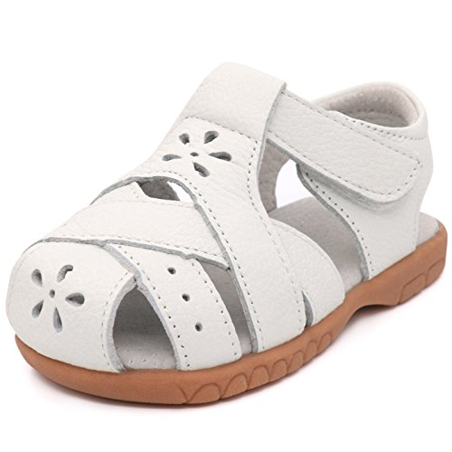 LONSOEN Girl's Leather Sandals Closed-Toe Hollow Flower Casual Outdoor Shoes,KSD012 White -