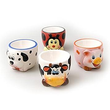Assorted Animal Egg Cups 7Cm - Set Of 4: Amazon.co.uk: Baby