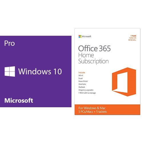 Ms Office Bundle - Windows 10 Pro (64 bit) + Microsoft Office 365 Home Bundle