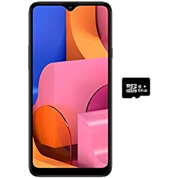 "Samsung Galaxy A20S w/Triple Cameras (32GB, 3GB RAM) 6.5"" Display, Snapdragon 450, 4000mAh Battery, US & Global 4G LTE GSM Unlocked A207M/DS - International Model (Black, 32GB + 64GB SD Bundle)"