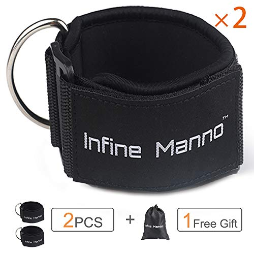 Infine Manno 2PCS Ankle Straps for Cable Machines, Paded Adjustable Double Rings Straps with Comfort fit Neoprene for Glute & Leg Workouts - for Women & Men