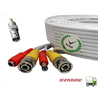 Wennow Premium Quality 4x150Ft Video and Power Cable for Lorex CCTV Security Cameras white color