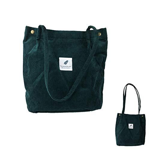 Eflying Lion Corduroy Shoulder Bag Shopping Tote Bag Retro Casual Handbags,Girls Bag,Ladies Shoulder Bag (dark green)