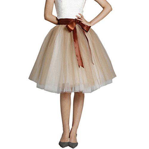 Lisong Women Knee Length Bowknot layered Tulle Party Prom...