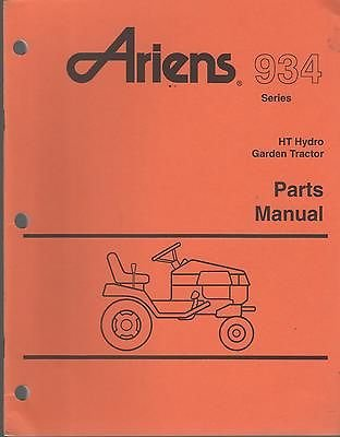 1993 ARIENS 937 SERIES HT HYDRO GARDEN TRACTOR PARTS MANUAL P/N PM-34-93 (022)