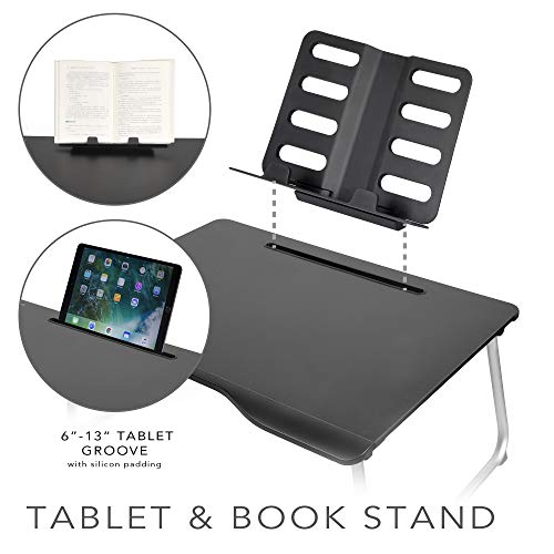 Cooper Table Mate [Folding Laptop Desk for Bed & Sofa] Couch Table, Bed Desk for Laptop, Writing, Study, Eating | Storage, Reading Stand (Black Onyx) by Cooper Cases (Image #2)