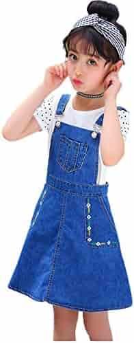 f50e0461a Kidscool Girls Big Bibs Small Flowers Decor Summer Jeans Overalls Dress