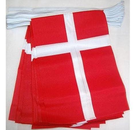 AZ FLAG Guirnalda 6 Metros 20 Banderas de Dinamarca 21x15cm - Bandera DANESA 15 x 21 cm - BANDERINES: Amazon.es: Hogar