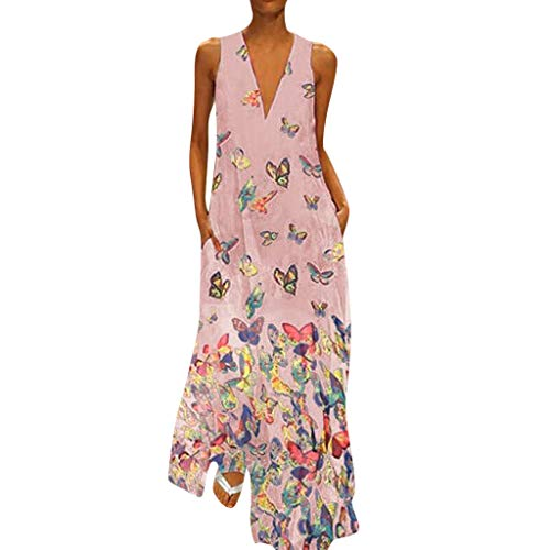 (Aniywn Ladies Deep V Neck Long Dress Plus Size Casual Sleeveless Maxi Dress Women's Butterfly Printed Party Dresses Pink)