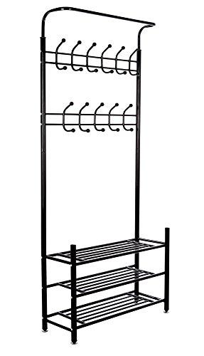 Corner Coat (M.S. Premium Metal Hall Coat Rack Organizer with 3 Shelves, 18 Hooks, Free Standing Entryway Storage Bench, Black)