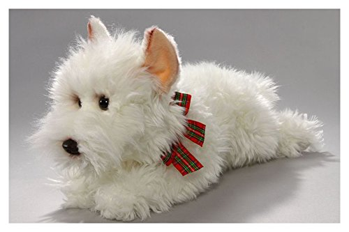 Stuffed Animal Westie, West Highland Terrier lying 14 inches, 35cm, Plush Toy, Soft Toy - Terrier Soft Toy