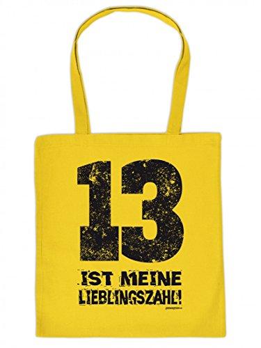 Lustig bedruckte Stofftasche - 13 ist meine Lieblingszahl - Sprüche - Tasche Baumwolltasche Beutel Tragetasche
