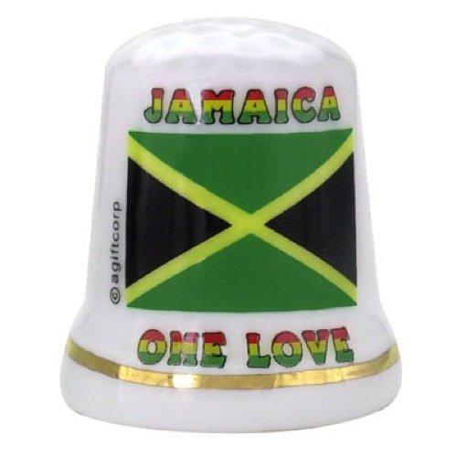 Jamaica Caribbean Flag Pearl Souvenir Collectible Thimble agc