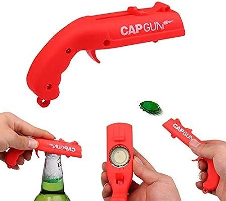 Doulewa - Abridor de botellas de cerveza profesional para lanzador de botellas de plástico creativo, abridor de botellas para el hogar, cocina, bar, fiesta, juego de beber (rojo, 13 x 5,5 x 3,8 cm)
