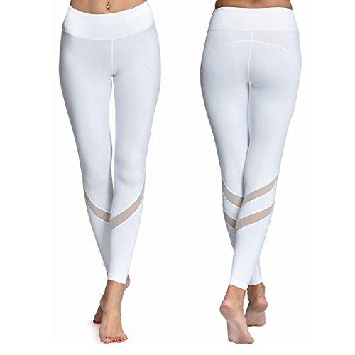 Chikool White Mesh Yoga Leggings for Women Workout Capri Pants Hidden Pocket S