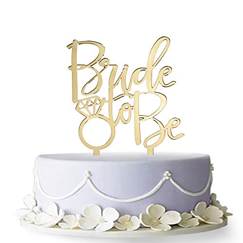 Firefairy Bride to Be Cake Topper, Engagement, Bachelorette Party Decoration Supplies (Gold)