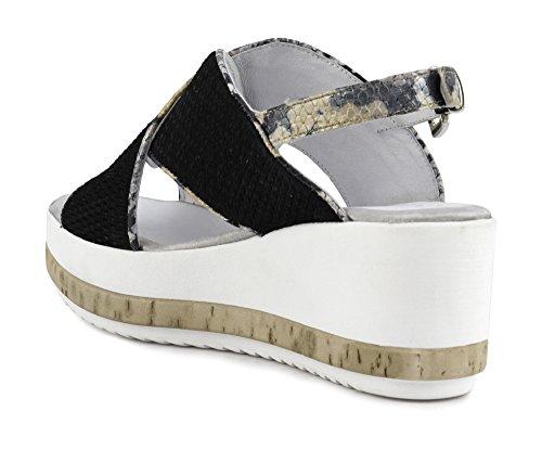 MHF811226400 CROÛTE 226 40 MULTINERO Sandal Noir ET Cafè par Cross Python U5OfwqnT