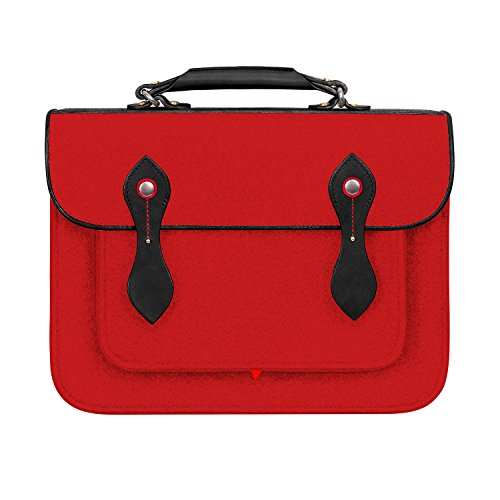 TOPHOME Retro Wool Felt Laptop Backpack Messenger Bag Laptop Case Business Office Handbag with Genuine Leather Handle Briefcase for 13.3 inch Macbook Notebook/Tablet/Acer/HP/Dell/Lenovo etc,Red by TOPHOME