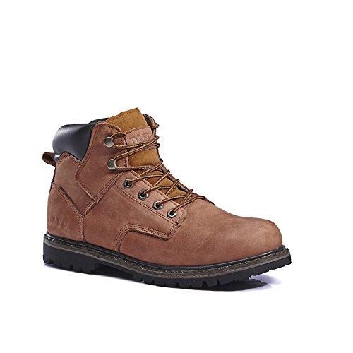 KINGSHOW Men's 1406 Premium Full-Grain Leather Plain Rubber Sole Soft Toe Work Boots (9 M US Men's, (Leather Genuine Boots)