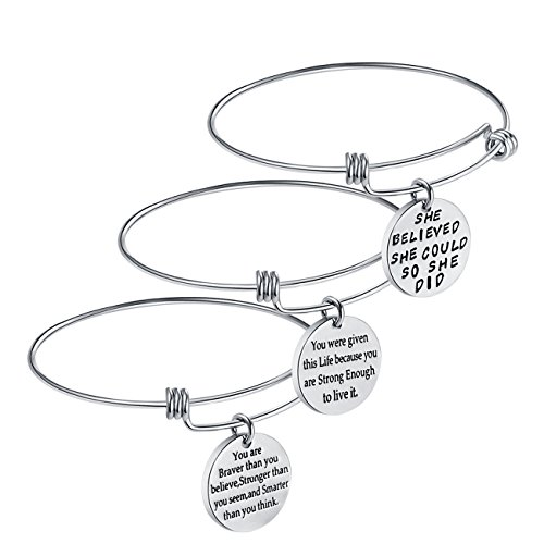 Birthday+Gifts+for+Women+Girls+-+3PCS+Stainless+Steel+Inspirational+Charm+Bracelets+Jewelry+Set+Motivational+Expendable+Bangles+Anniversary+Gift+Ideas+%28Silver-3PCS%29