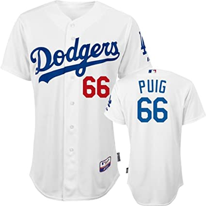 huge selection of ceea5 d40c1 Amazon.com : Yasiel Puig Jersey: Big & Tall Home White #66 ...