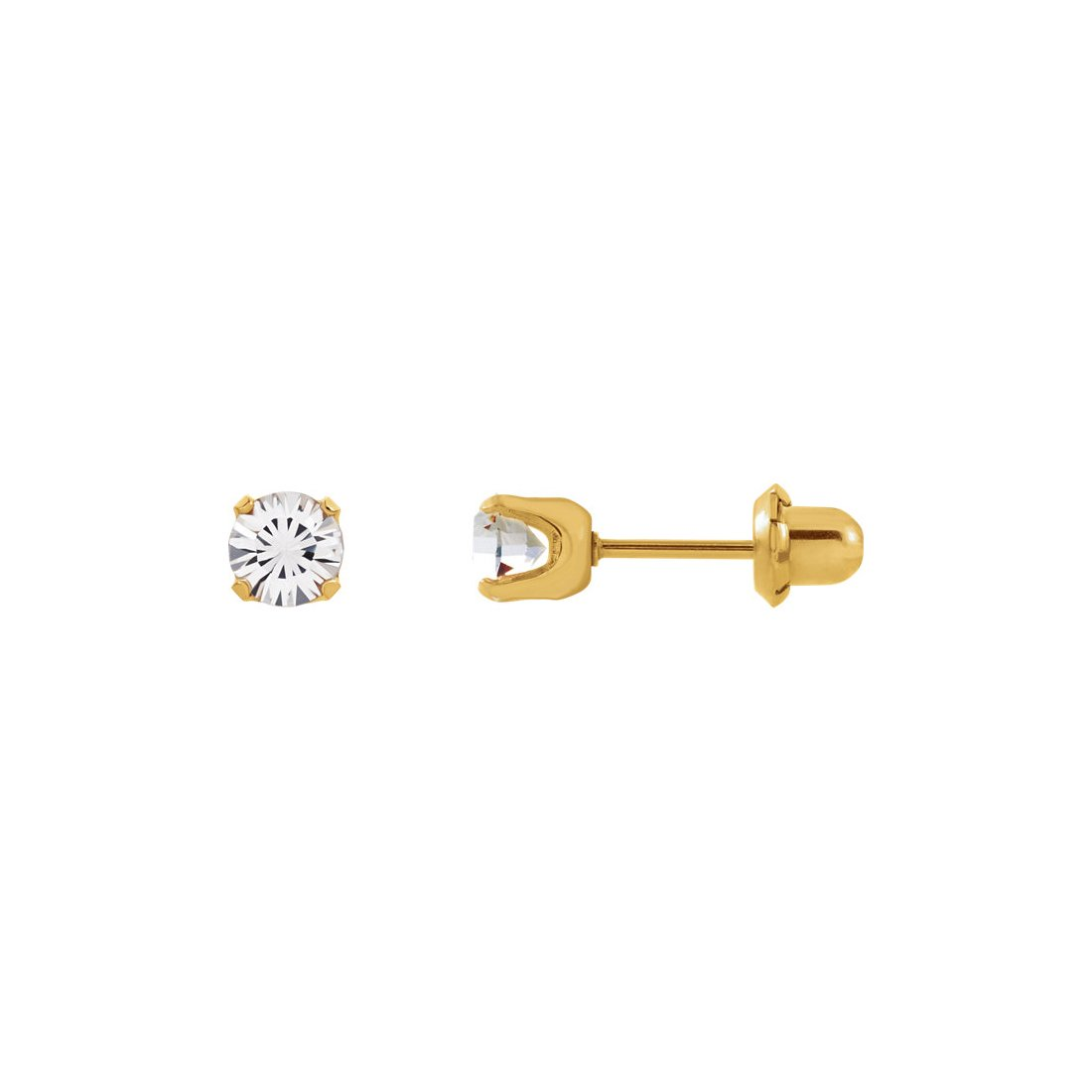24K Gold Plated Stainless Steel - Cubic Zirconia Crystal - 33C by Inverness