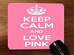 Keep Calm and Love Pink Desktop Office Silicone Mouse Pad by icecream design