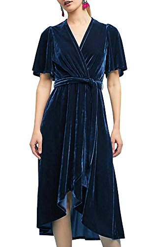 R.Vivimos Womens Crushed Velvet Pleated Wrap Tie Waist Elegant Flowy Plus Size Midi Dresses Medium Dark - Velvet Crushed