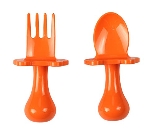 Made in USA Babyware Self Feeding Spoon and Fork Set for Baby and Toddler by eZtotZ BPA Free (Orange)